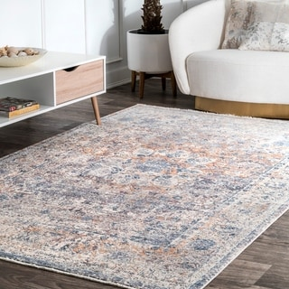Porch & Den Graham Blue Ombre Medallion Fringe Area Rug - 9' x 12'