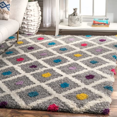 Porch & Den Billy Multicolor Trellis and Dot Soft Shag Area Rug - 4' x 6'