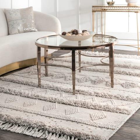 nuLOOM Stone Wool Handmade Flatweave Contemporary Raised Tribal Stripes Tassel Area Rug - 6' x 9'