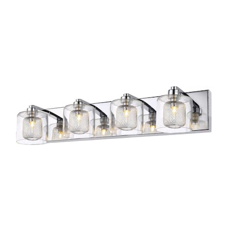 Chrome Metal Wall Sconce with Glass Shade