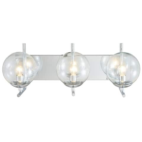 Chrome Metal Wall Sconce with Glass Shades