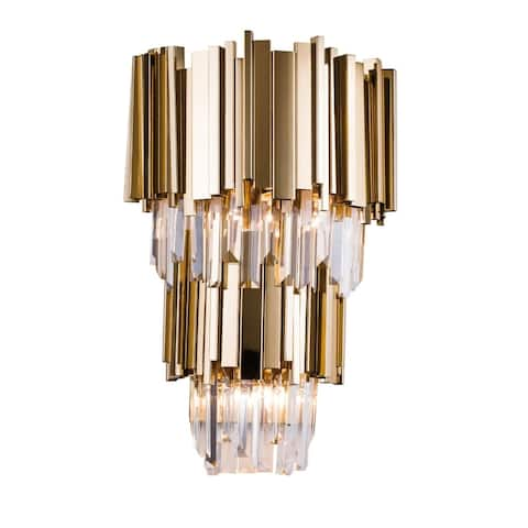 Gold Metal Wall Sconce with Crystal Drops
