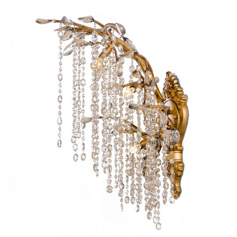 Gold Metal Wall Sconce with Crystal Accents