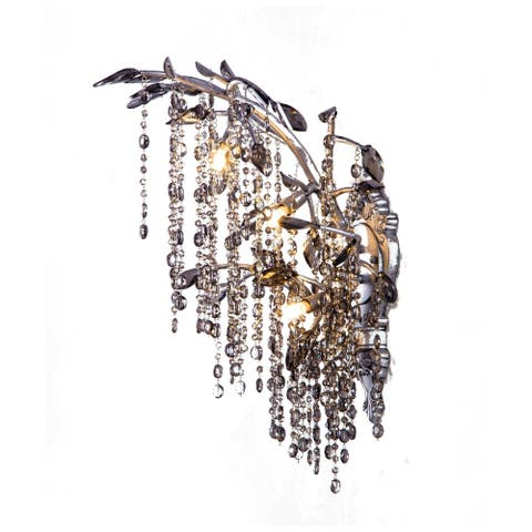 Silver Metal Wall Sconce With Smoke Crystal Accents