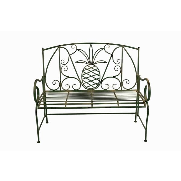 Sensational Shop Special T Green Pineapple Metal Garden Bench Free Caraccident5 Cool Chair Designs And Ideas Caraccident5Info