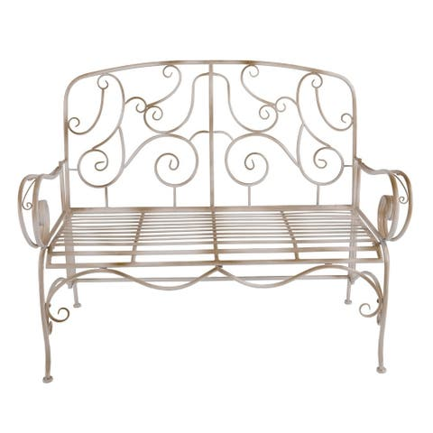 Special T White Distressed Metal Garden Bench