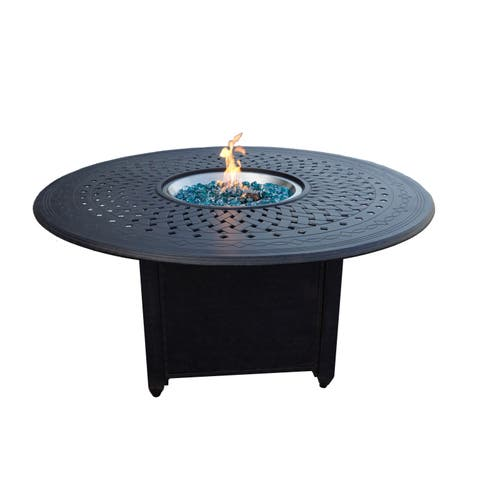 """Cast Aluminum 60"""" Round Propane Fire Pit Patio Dining Table"""