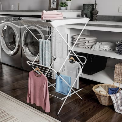 Clothes Drying Rack – 2 Tiered Laundry Sorter with Rust Resistant Metal Frame and Nylon Mesh Top by Lavish Home