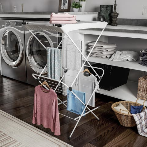 Clothes Drying Rack  2 Tiered Laundry Sorter with Rust Resistant Metal Frame and Nylon Mesh Top by Lavish Home