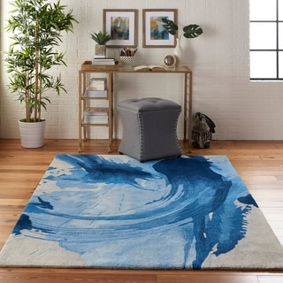 Nourison Symmetry Blue/Ivory Abstract Area Rug