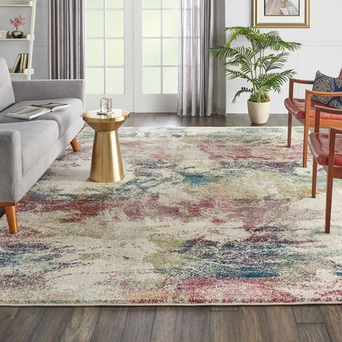 Nourison Fusion Multicolor Abstract Shag Rug