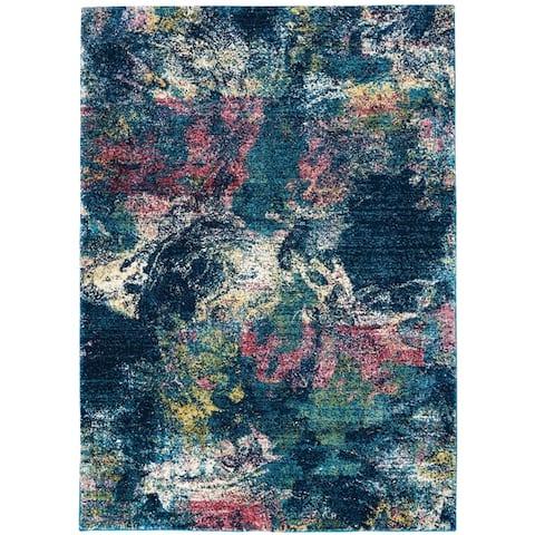 Nourison Fusion Multicolor Abstract Shag Rug