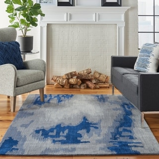 Nourison Symmetry Grey/Blue Area Rug