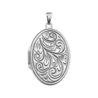 Curata 925 Sterling Silver Large Oval Bead Scroll Locket Pendant Necklace (yellow, white or rose) (19mmx 34mm))