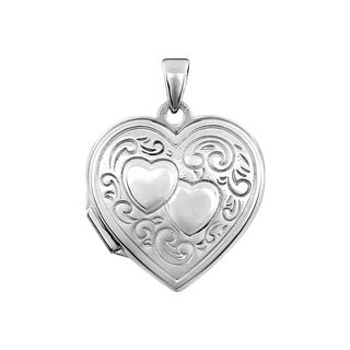 Curata 925 Sterling Silver Medium Double Heart Locket Pendant Necklace (yellow, white or rose) (18mm)