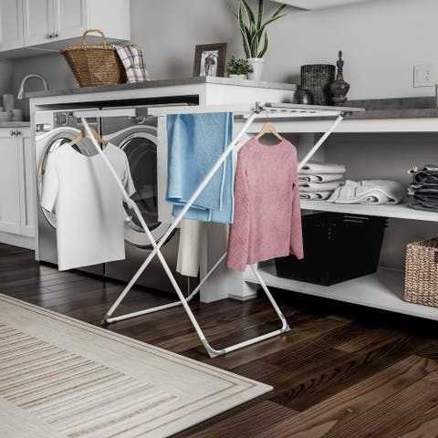 Extendable Clothes Drying Rack  Telescoping Laundry Sorter with Rust Resistant Metal X-Frame by Lavish Home - 66 x 22 x 36