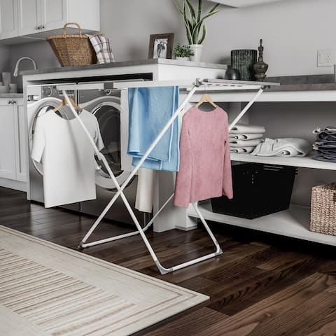 Extendable Clothes Drying Rack  Telescoping Laundry Sorter with Rust Resistant Metal X-Frame by Lavish Home