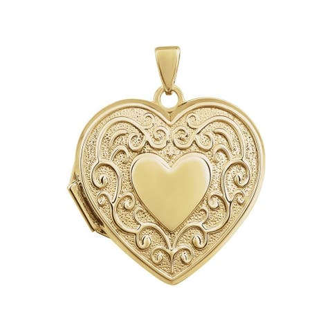 """Curata 14k Gold Medium Floral Double Heart Locket Pendant Necklace (yellow, white or rose) (15mm)(16"""" chain)"""