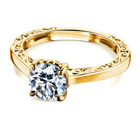 Annello by Kobelli 14k Gold One Carat Moissanite Solitaire Filigree Engraved Engagement Ring