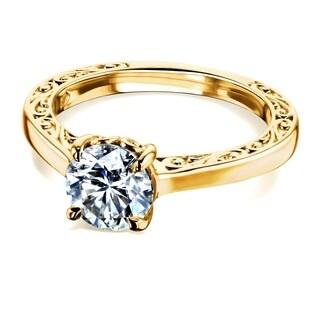 Annello by Kobelli 14k Gold One Carat Moissanite Solitaire Filigree Engraved Engagement Ring (FG/VS)