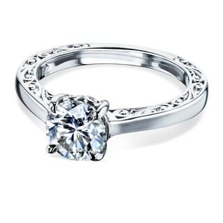Annello by Kobelli 14k Gold One Carat Forever One Moissanite Solitaire Filigree Engraved Engagement Ring (DEF/VS)