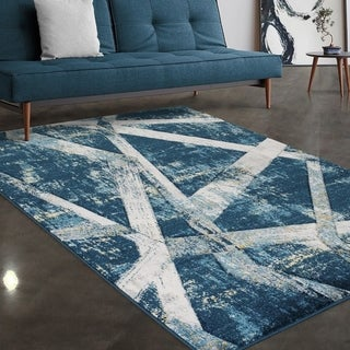 """Allstar Rugs Blue and Sky Blue Hand Carved Linear Rectangular Area Rug with Gainsboro Grey Design - 7' 5"""" x 9' 8"""""""