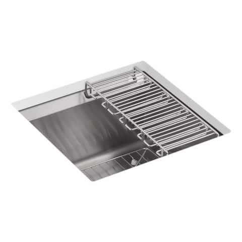 "Kohler 8 Degree 18"" X 18"" X 10-3/16"" Under-Mount Bar Sink with Bottom Bowl Sink Rack and Wine Glass Rack"