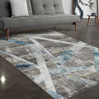 """Allstar Rugs Grey and Turquoise Hand Carved Linear Rectangular Area Rug with Gainsboro Design - 4' 11"""" x 7' 0"""""""