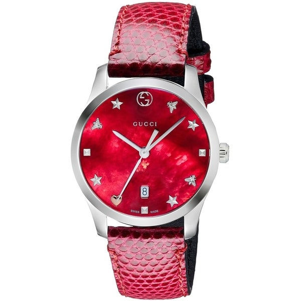 c29480530b4b Shop Gucci G-Timeless Leather Ladies Watch YA126584 - Free Shipping Today -  Overstock - 26458121