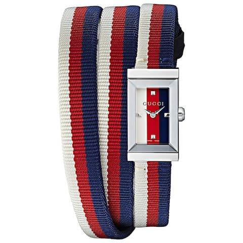 Gucci Women's YA147502 'G-Frame' Multicolour Fabric Watch