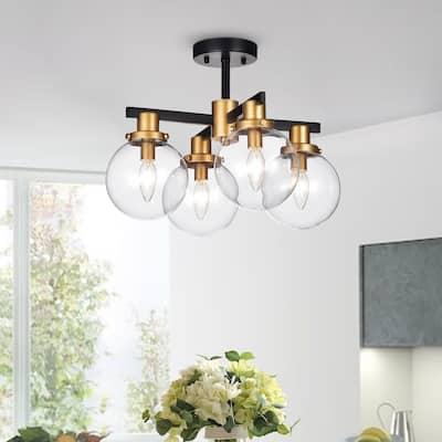 Tegan Black & Gold 4-light Flushmount Ceiling Light with Glass Shades