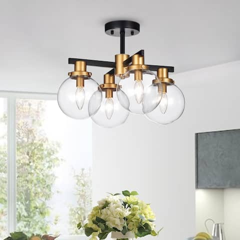 Tegan Black & Gold 4-light Flushmount Ceiling Light with Glass Shades