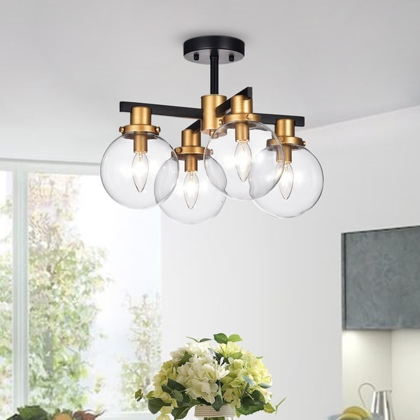 the latest 5b6d6 f6251 Shop Tegan Black & Gold 4-light Flushmount Ceiling Light ...