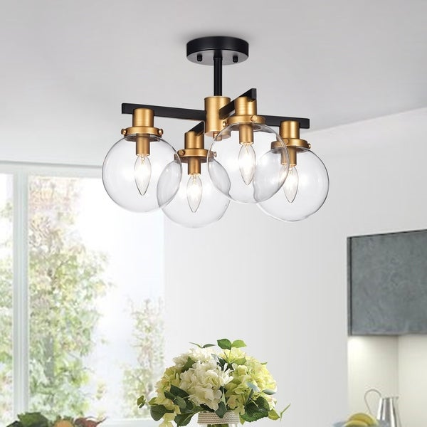 Tegan Black & Gold 4-light Flushmount Ceiling Light with Glass Shades. Opens flyout.