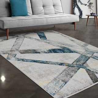 """Allstar Rugs Gainsboro and Grey Hand Carved Linear Rectangular Area Rug with Turquoise Design - 7' 5"""" x 9' 8"""""""
