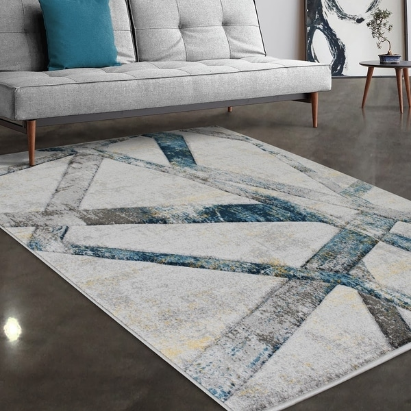 """Allstar Rugs Gainsboro and Grey Hand Carved Linear Rectangular Area Rug with Turquoise Design - 4' 11"""" x 7' 0"""""""