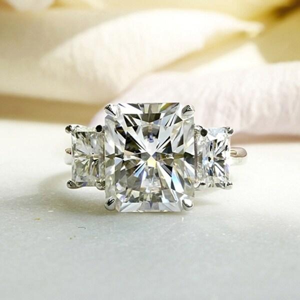 Annello by Kobelli 14k White Gold 6 3/4 Carat TGW Three Stone Radiant Cut Moissanite Statement Engagement Ring (HI/VS). Opens flyout.