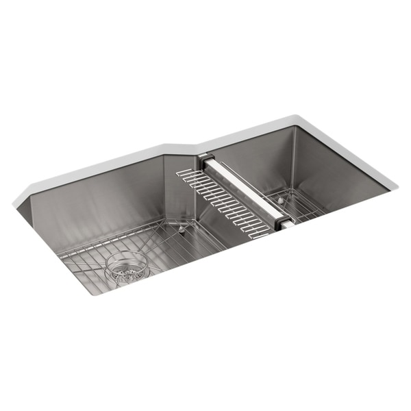 "Shop Kohler Strive 35-1/2"" X 20-1/4"" X 9-5/16"" Under-Mount Extra-Large/Medium Double-Bowl Kitchen Sink with Sink Rack - Free Shipping Today - Overstock - ..."