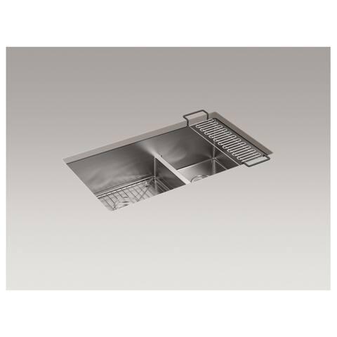 """Kohler Strive 32""""X18-5/16""""X9-5/16"""" Smart Divide Bowl with Sink Rack"""