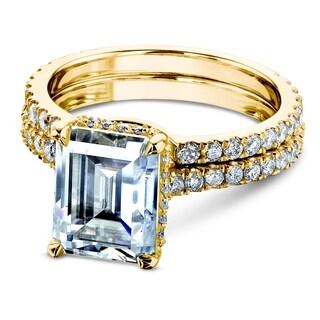 Annello by Kobelli 14k Gold 3 1/6ct TDW 9x7mm Emerald Moissanite and Diamond Drop Halo Bridal Rings Set (FG/VS, GH/I)
