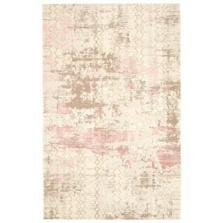 Textured Soft Polypropylene Modern Abstract Pink Rug