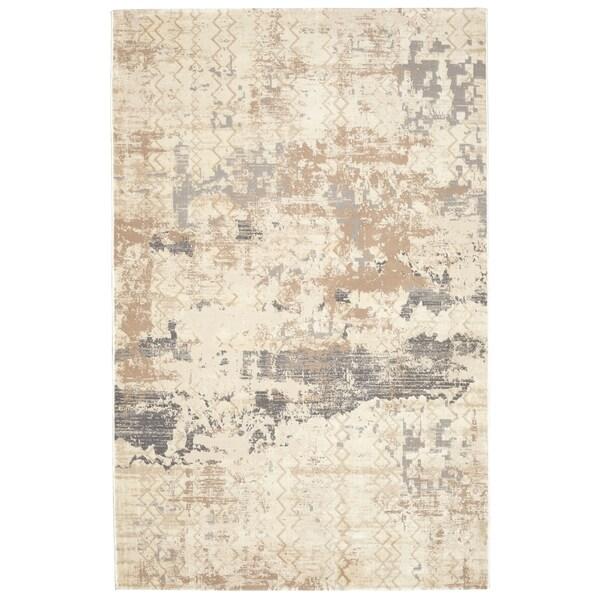 Textured Soft Polypropylene Abstract Grey Beige Rug