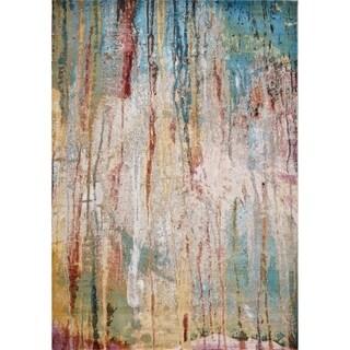 Domani Artisan Ivory/Teal Modern Artiste Area Rug