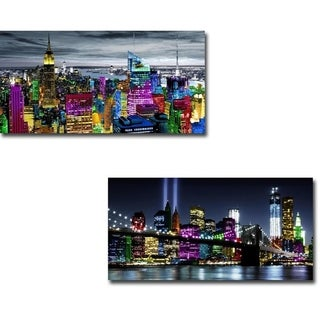 NYC in Living Color I & II by Carly Ames 2-piece Gallery Wrapped Canvas Giclee Art Set (Ready to Hang)