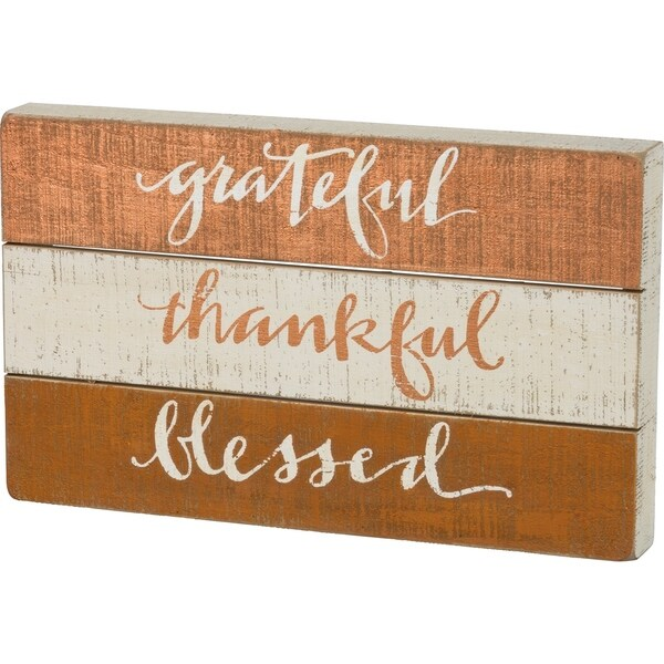 Slat Box Sign - Grateful - Thankful - Blessed