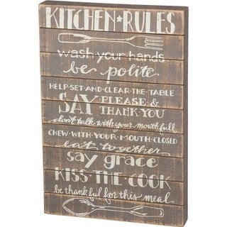 Slat Sign - Kitchen Rules: Wash Your Hands