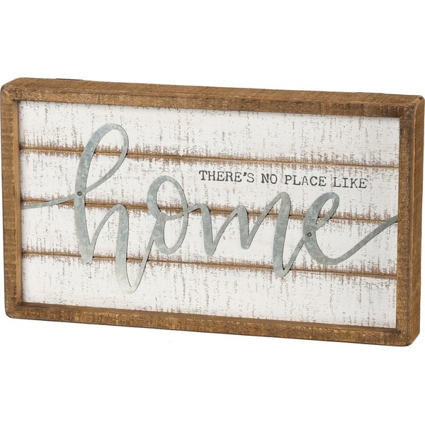 Inset Slat Box Sign - There's No Place Like Home