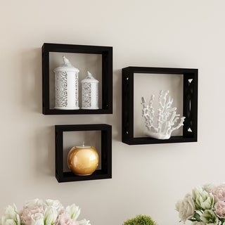 Floating Shelves- Open Cube Wall Shelf Set with Hidden Brackets, 3 Sizes by Lavish Home