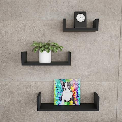 Floating Shelves- U Shape Wall Shelf Set with Hidden Brackets, 3 Sizes by Lavish Home
