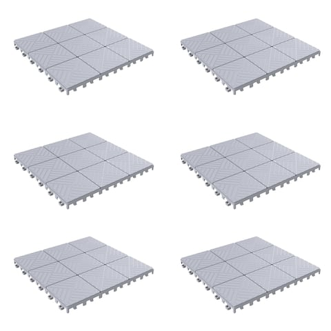 Patio and Deck Tiles Set of 6 - Interlocking Eco-Friendly Outdoor Flooring Pavers by Pure Garden